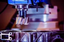 Close-up of metalworking CNC milling machine