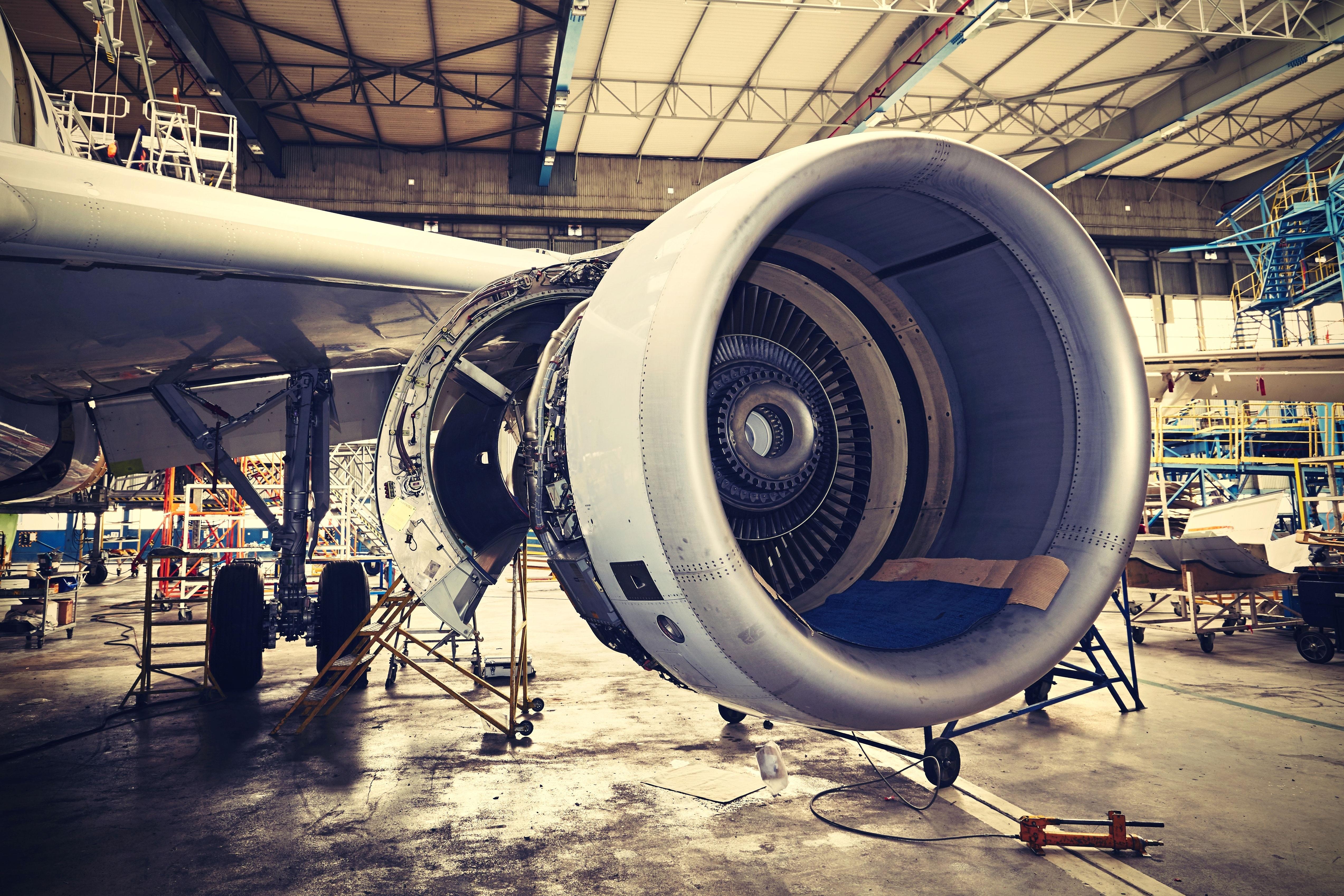 Aerospace & Defense parts   Airplane engine undergoing heavy maintenance