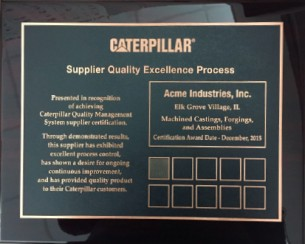 Acme Industries | Caterpillar bronze level SQEP supplier certificate